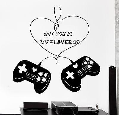 Wall Sticker Gaming Love Romantic Joystick Joypad Vinyl Decal Unique Gift (z3090)