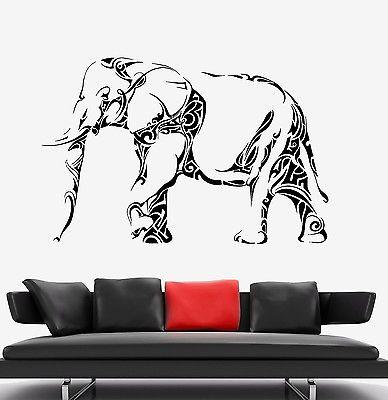 Wall Vinyl Elephant Cool Animal Ornament Mural Vinyl Decal Unique Gift (z3363)