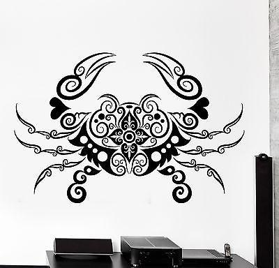 Wall Decal Crab Sea Lake Ornament Tribal Mural Vinyl Decal Unique Gift (z3199)