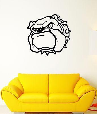Wall Decal Angry Dog Bulldog Pet Collar Studs Guard Mural Vinyl Stickers Unique Gift (ed184)