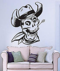 Wall Stickers Vinyl Decal Skull Bones Hat Death Dead Cowboy Smile (ig899)