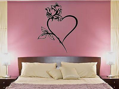 Wall Decal Heart Rose Flower Love Passion Bedroom Art Vinyl Stickers Unique Gift (ed268)