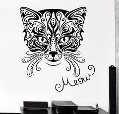 Wall Decal Animal Cat Pets Kitty Meow Vinyl Decal (z3148)