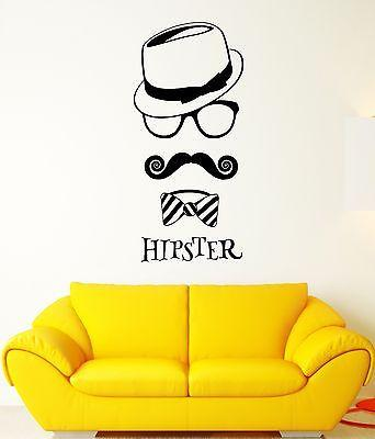 Wall Decal Hipster Fashion Glasses Moustache Butterfly Vinyl Stickers Unique Gift (ed115)