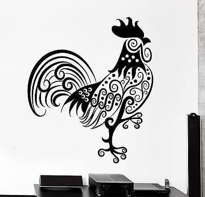 Wall Decal Rooster Cock Animal Ornament Tribal Mural Vinyl Decal Unique Gift (z3301)