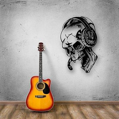 Wall Stickers Vinyl Decal Gamer Play Skull Music Headphones Video Game (ig450)