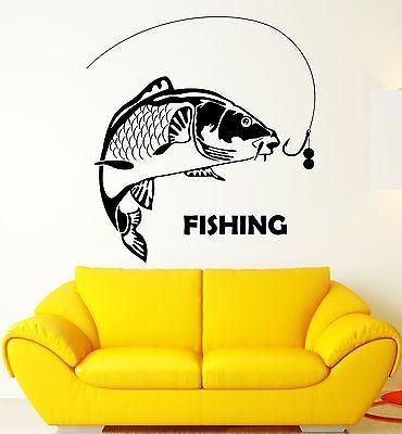 Wall Sticker Vinyl Decal Fishing Fish Leisure Hobbies Room Decor Unique Gift (ig2103)