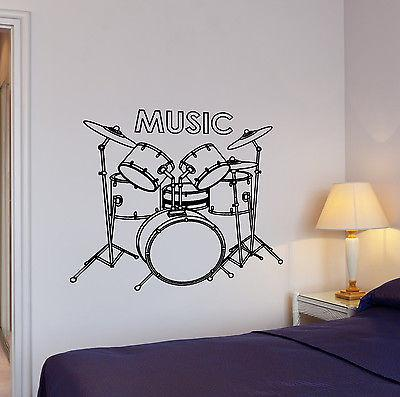 Wall Decal Music Rock Drums Drummer Rhythm Drumsticks Vinyl Stickers Unique Gift (ed107)