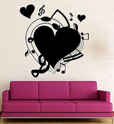 Wall Sticker Vinyl Decal Music fan Heart Love Romance Home Decor Unique Gift (ig1979)