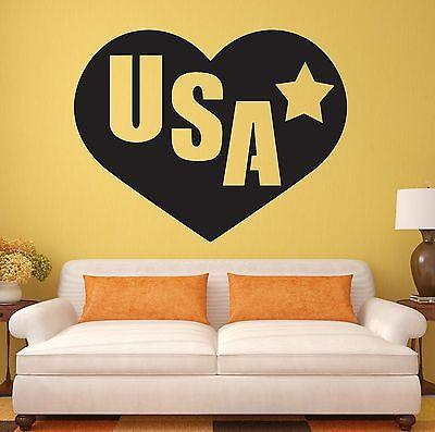 Wall Stickers I Love USA United States Heart Patriot Vinyl Decal Unique Gift (ig905)