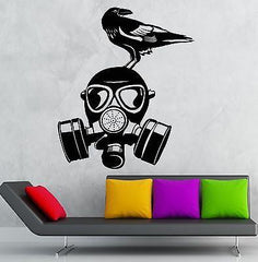 Gas Mask Wall Stickers War Military Bird Cool Decor Vinyl Decal (ig2397)