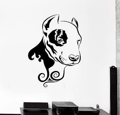 Wall Decal Dog Pitbull Animal Floral Ornament Tribal Mural Vinyl Decal Unique Gift (z3310)