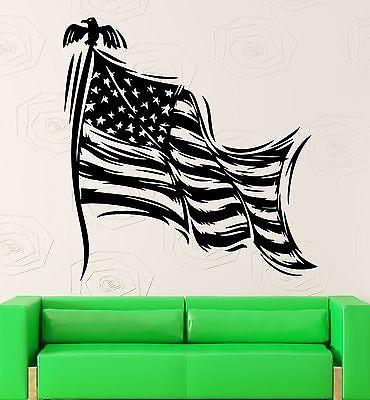 Vinyl Decal United States Flag Country Symbol Eagle Wall Stickers Unique Gift (ig2334)