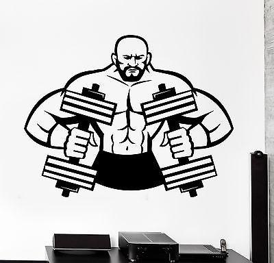 Wall Sticker Sport Muscle Man Dumbbell Barbell Vinyl Decal Unique Gift (z3074)