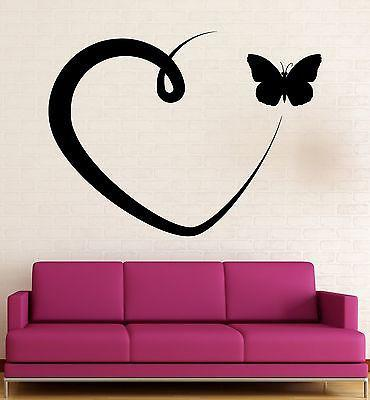 Wall Sticker Vinyl Decal Romantic Love Heart Butterfly Cool Room Decor (ig2289)