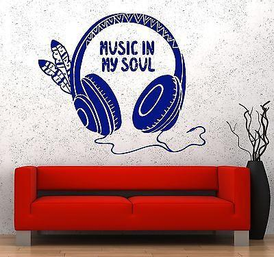 Wall Decal Music Headphones Feather Soul Guaranteed Quality Vinyl Sticker Unique Gift z3584