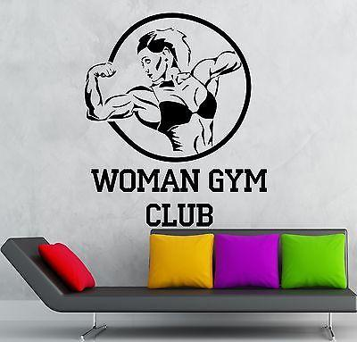 Woman Gym Club Vinyl Decal Sport Bodybuilding Fitness Wall Stickers Unique Gift (ig2318)