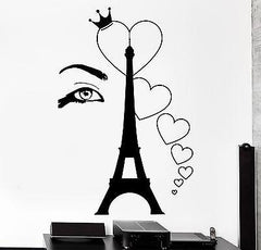 Wall Decal Paris Eiffel Tower Eye Sexy Heart Romantic Vinyl Decal Unique Gift (z3120)