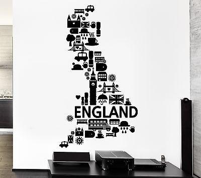 Wall Decal England London Big Ben Rain United Kingdom Bus Vinyl Stickers Unique Gift (ed085)