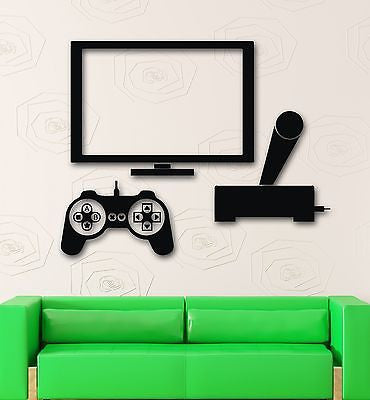 Wall Sticker Vinyl Decal Video Game Joystick TV Gamer Cool Nursery Unique Gift (ig1964)