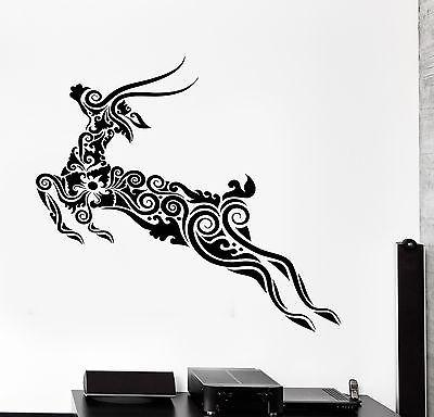 Wall Decal Deer Animal Floral Ornament Tribal Mural Vinyl Decal Unique Gift (z3309)