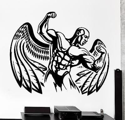 Wall Sticker Sport Bodybuilding Bodybuilder Winged Man Vinyl Decal Unique Gift (z3077)