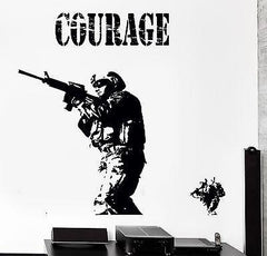 Wall Vinyl Marine Soldier Rifle Courage Guaranteed Quality Decal (z3459)