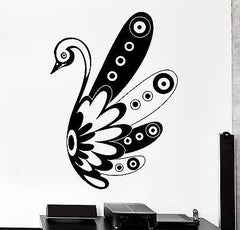 Decal Swan Bird Black And White Ornament Tribal Mural Vinyl Decal (z3181)