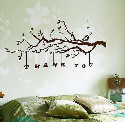 Wall Decal Tree Branch Thank You Vinyl Sticker Unique Gift (z3635)