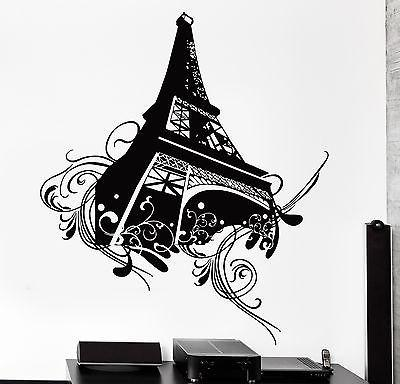 Wall Decal Paris Eiffel Tower Flower Floral Love Vinyl Decal (z3118)