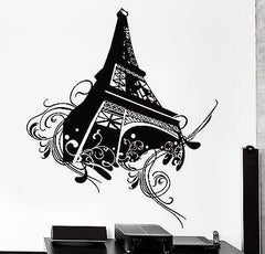Wall Decal Paris Eiffel Tower Flower Floral Love Vinyl Decal Unique Gift (z3118)