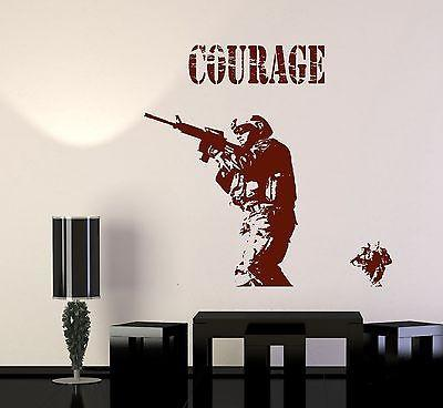 Wall Vinyl Marine Soldier Rifle Courage Guaranteed Quality Decal Unique Gift (z3459)