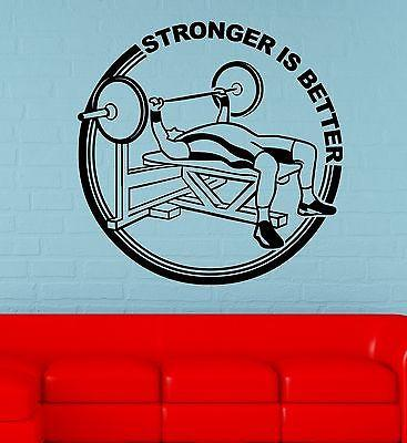 Wall Decal Sport Gym Fitness Athlete Weightlifting Power Vinyl Stickers Unique Gift (ed153)