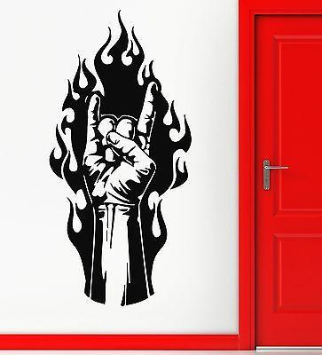 Wall Stickers Rock Metal Music Hand Fire Tattoo Vinyl Decal Unique Gift (ig876)