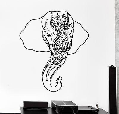 Wall Vinyl Decal Sticker Elephant Indian Style Animals Ornament Mural (z3350)