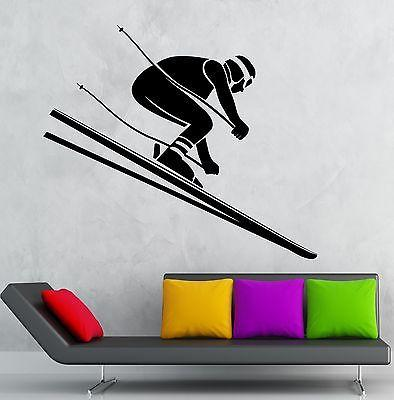 Wall Decal Downhill Skiing Alpine Winter Sport Vinyl Stickers Art Mural Unique Gift (ig2601)