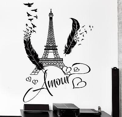 Decal Paris Eiffel Tower Amour Love Hearts Feather Romantic Sticker Unique Gift (z2846)