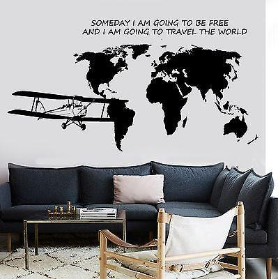 Wall Decal Map Of The World Airplane Quote Some Day I Am Going To Be Free Unique Gift z2842
