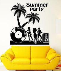 Summer Party Wall Stickers Night Club Palms Vinyl Decal Unique Gift (ig2438)