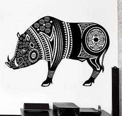 Wall Decal Animal Wild Boar Pig Tribal Ornament Mural Vinyl Decal (z3165)