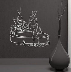 Naked Woman Bath Beauty Salon Spa Therapy Relax Wall Mural Vinyl Decal Unique Gift (ig2107)