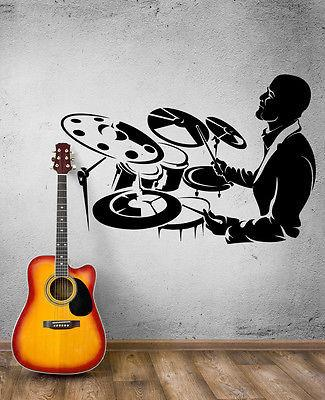 Wall Decal Music Drummer Jazz Rock Drumroll Drumsticks Vinyl Stickers (ed062)