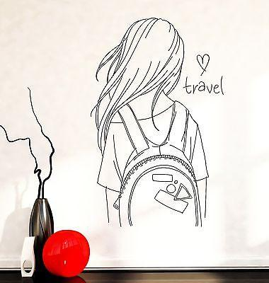 Wall Decal Fashion Girl I Love Travel Vinyl Sticker Unique Gift (z3592)