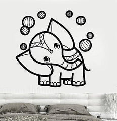 Wall Vinyl Elephant Circus Tribal Ornament Mural Vinyl Decal Unique Gift (z3369)