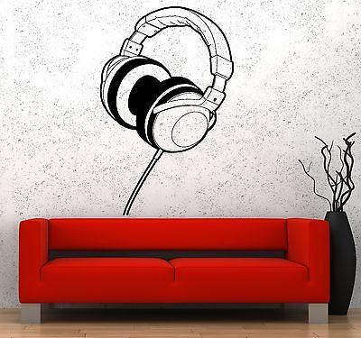 Wall Vinyl Music Headphones Earphones Cool Guaranteed Quality Decal Unique Gift (z3579)