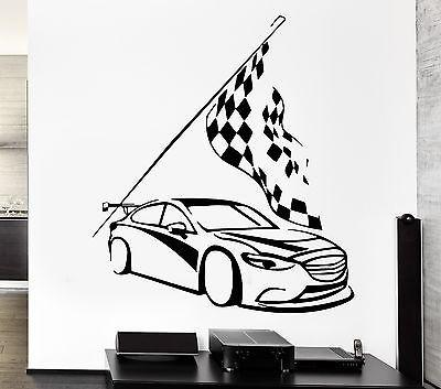 Wall Decal Car Race Sport Speed Man Sticker Checkered Flag For Living Room Unique Gift z2775