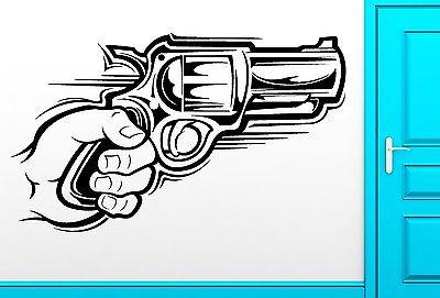 Wall Sticker Vinyl Decal Hand With Gun Gangster Weapon Cool Decor Unique Gift (z2498)