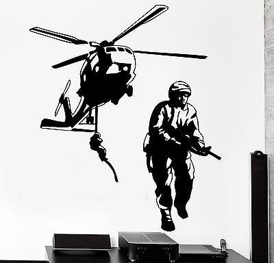 Wall Vinyl Helicopter Soldier Marine Guaranteed Quality Decal (z3440)