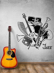Wall Decal Music Jazz Blues Saxophone Music Orchestra Vinyl Stickers Unique Gift (ed013)