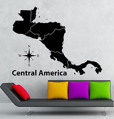 Wall Decal Map School Geography Central America Vinyl Stickers Art Mural Unique Gift ig2553